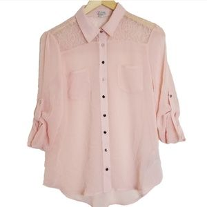 GAP Pink Lace Top Chiffon Button Blouse